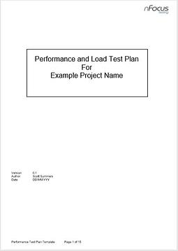 Performance Test Plan Template